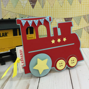 Choo Choo Train & Pull Ticket Birthday Invitation | Choo Choo Handmade Train Birthday Invite | Boys Birthday The Train Ticket Invite - Simply Fab Chic