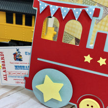 Load image into Gallery viewer, Choo Choo Train & Pull Ticket Birthday Invitation | Choo Choo Handmade Train Birthday Invite | Boys Birthday The Train Ticket Invite - Simply Fab Chic
