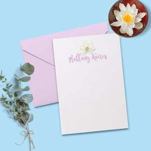 Magnolia Flower Personalized Note Card