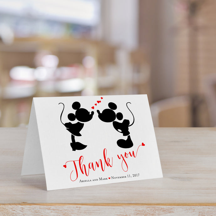 Mickey Minnie Kissing Personalized Thank You Card