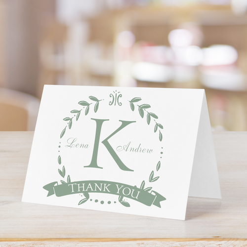 Olive Leaves Wreath Initial Thank You Card