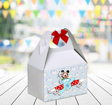 Load image into Gallery viewer, Pilot Mickey Aviator Favor Gable Box | Aviator Mickey Birthday Party Treat Box | Snack Box
