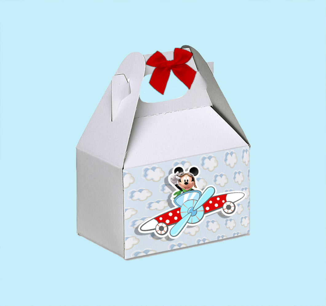 Pilot Mickey Aviator Favor Gable Box | Aviator Mickey Birthday Party Treat Box | Snack Box