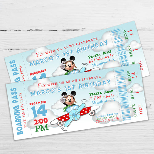Mickey Pilot Aviator Boarding Pass Invitation | Birthday Ticket Boarding Pass Invitation