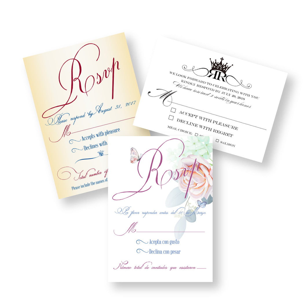 Invitation RSVP for Weddings, Birthday, Quinceañera, Sweet 16th, Baptism