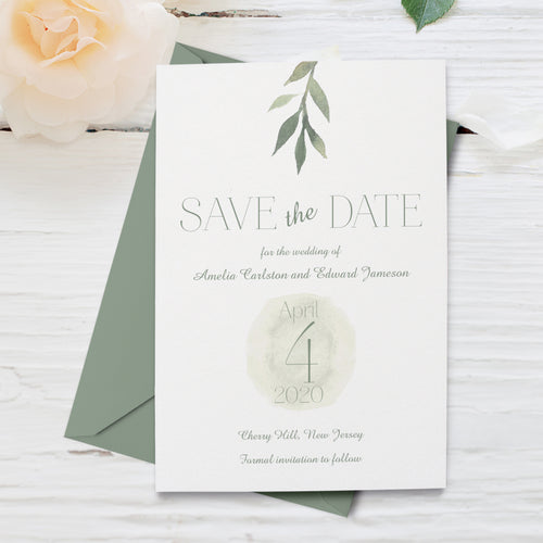 Watercolor Olive Leave Botanical Wedding Save the Date