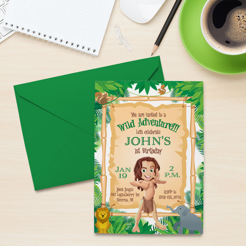 Tarzan Wild Adventure Birthday Invitation Jungle Tarzan Invite Wild First Birthday Safari Party - Simply Fab Chic