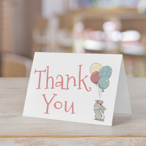 Baby Bunny Girl Hare Thank You Card for Baby Shower or Birthday