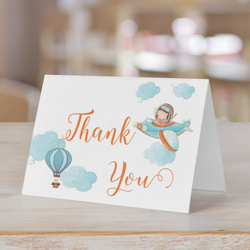 Little Pilot Flying Hot Air Balloon Thank You Card