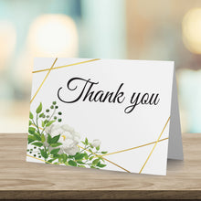 Load image into Gallery viewer, Floral Greenery watercolor Rose Leaves Personalized Thank You Card