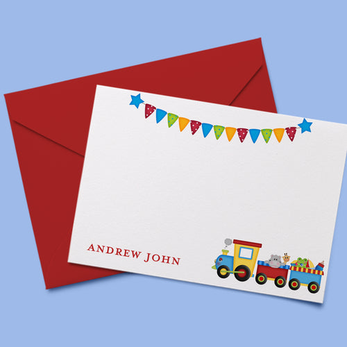 Choo Choo Train Personalized Thank You Note Card
