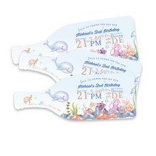 Load image into Gallery viewer, Under the Sea Sea Creature Watercolor Birthday Invitation (Min. Set of 10) | Bottle Shape Invitation | Boy's Birthday | Cute Unique Invite
