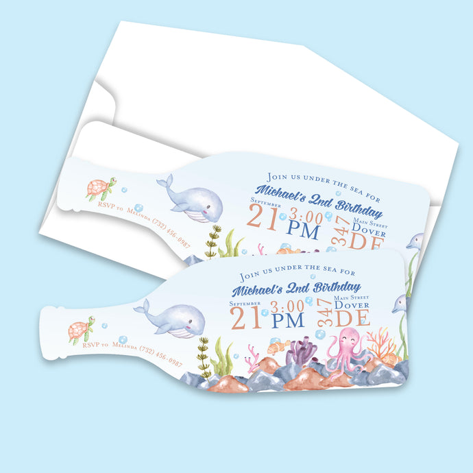 Under the Sea Sea Creature Watercolor Birthday Invitation (Min. Set of 10) | Bottle Shape Invitation | Boy's Birthday | Cute Unique Invite