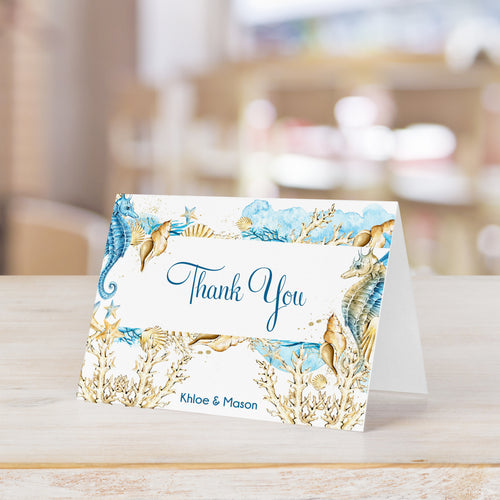 Nautical Under the Sea with Seahorses Thank You Card