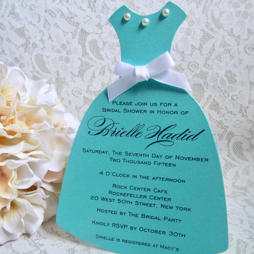 Turquoise Bridal Shower Slim Dress Invitation