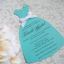 Load image into Gallery viewer, Turquoise Bridal Shower Slim Dress Invitation