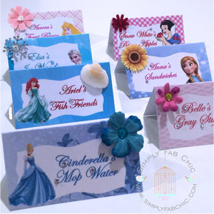 Disney Princess Tent Style Food Table Labels Name Card Personalized Birthday Party - Simply Fab Chic