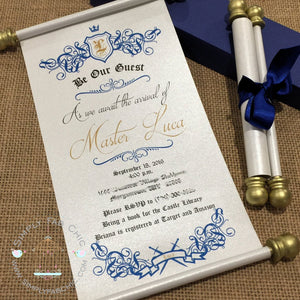 Royal Prince Baby Shower Scroll Invitation Royal Blue & Gold - Simply Fab Chic