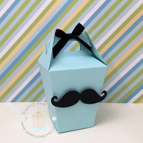 Little Man Mustache Gentleman Mini Gable Favor Box - Simply Fab Chic