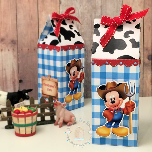 Mickey Farmer Milk Carton Style Favor Boxes | Birthday Treat Box - Simply Fab Chic