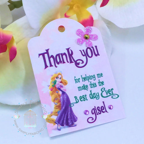 Rapunzel Thank You Favor tags Favors Custom Personalized Labels - Simply Fab Chic