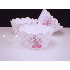 Ballerina Cupcake Wrapper | White and Pink Cupcake Wrapper - Simply Fab Chic
