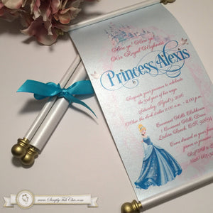 Cinderella Royal Princess Birthday Scroll Fairytale Invitation in Gold and Cinderella Blue - Simply Fab Chic