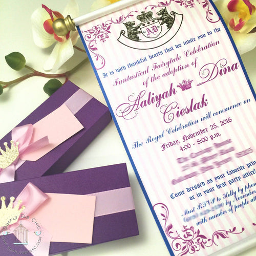 Royal Twins Princess Couture Scroll Birthday Invitation - Simply Fab Chic