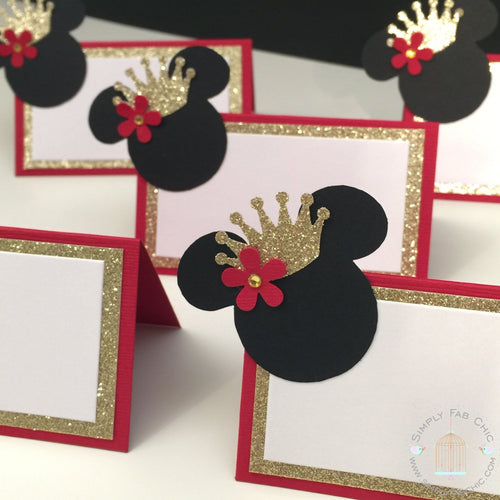 Royal Princess Minnie Mouse Place Card Food Tent Seating Escort Card - Simply Fab Chic