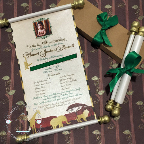 Coming to America Safari Wild Little One Birthday Scroll Invitation - Simply Fab Chic