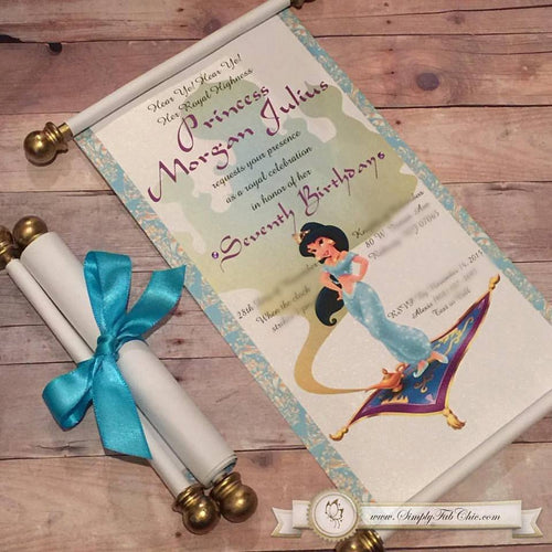Princess Jasmine Scroll Birthday Invitation Aladdin Invitate - Simply Fab Chic