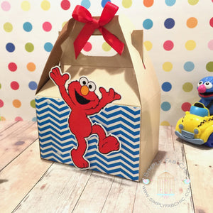 Elmo Favor Gable Box | Sesames Street Birthday Party Treat Box | Snack Box - Simply Fab Chic
