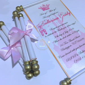 Ballerina Princess Scroll Invitation Birthday Wedding Invitation Handmade Prince Invitation Christening Birth Announcement - Simply Fab Chic