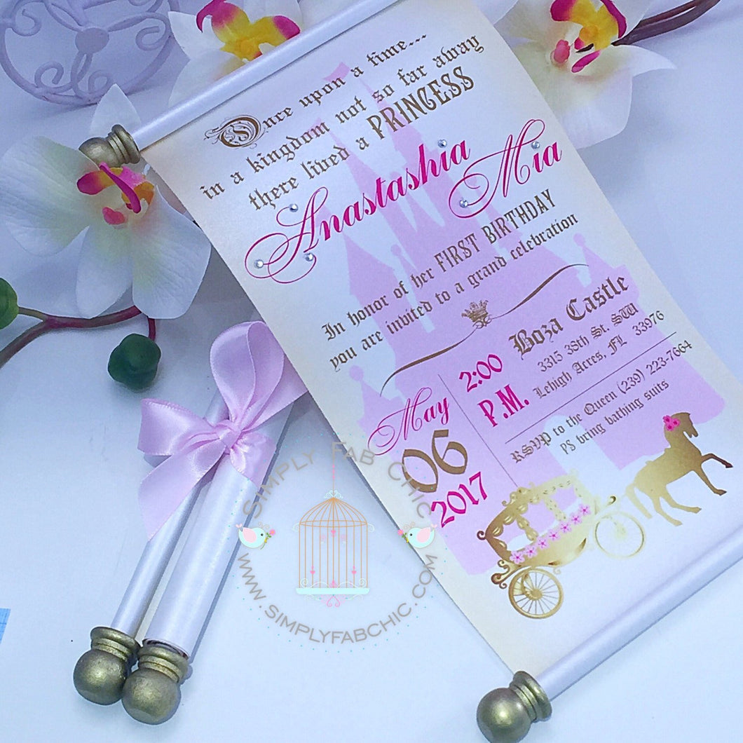Royal Princess Carriage First Birthday Scroll Invitation - Simply Fab Chic