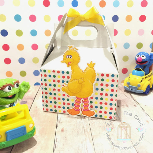 Big Bird Party Gable Favor Box | Sesame Street Birthday Treat Box | Snack Box - Simply Fab Chic