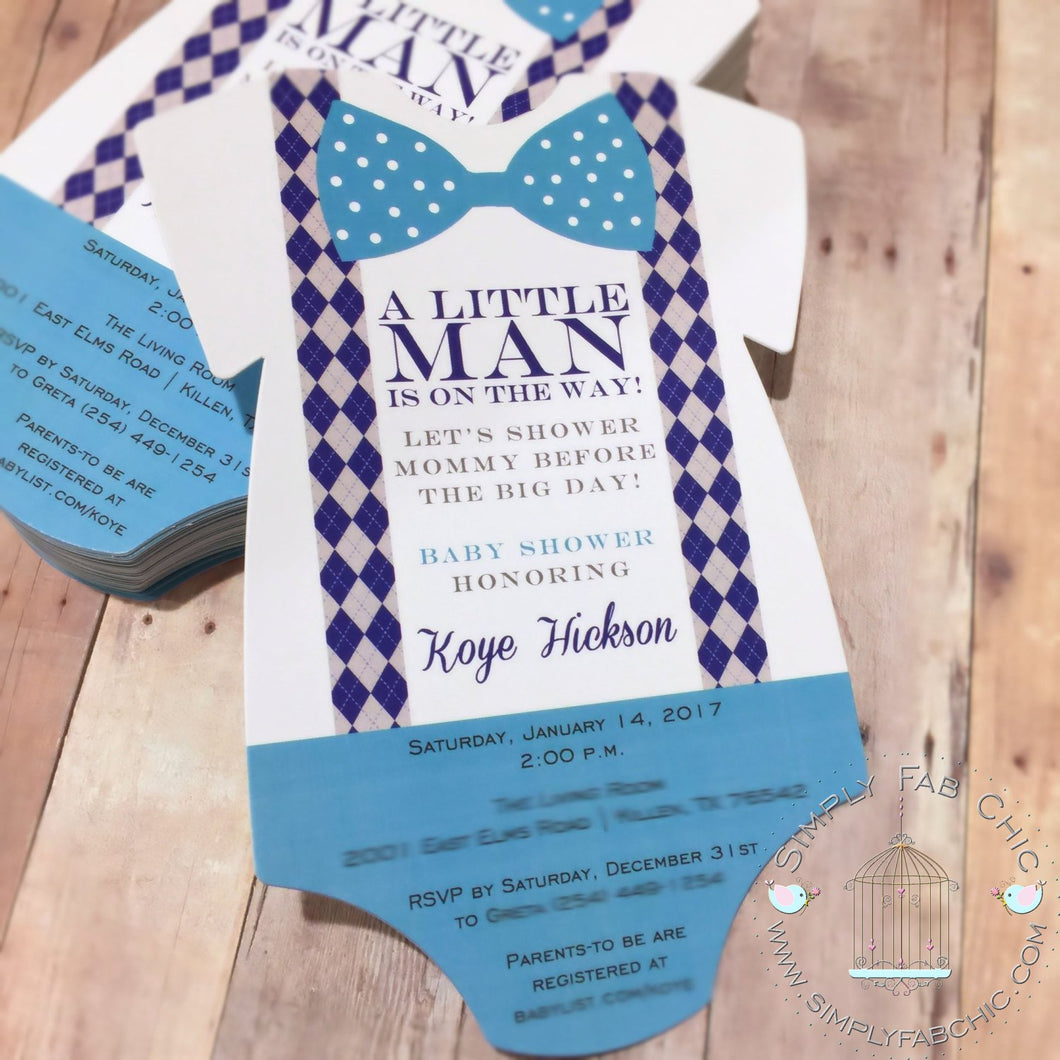 Baby Boy Little Gentleman Bowtie Baby Shower Invitation - Simply Fab Chic