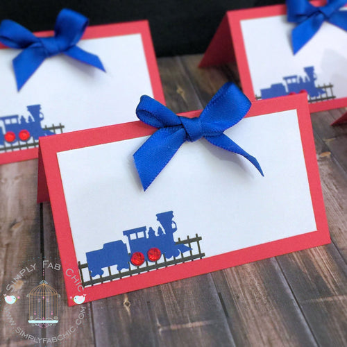 Birthday Personalized Choo Choo Train Place Card Food Tent Escort Seating Card - Simply Fab Chic