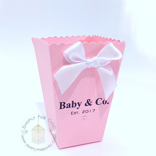 Baby & Co. Personalized Baby Shower Popcorn Favor Treat Box - Simply Fab Chic