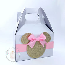 Load image into Gallery viewer, Minnie Mouse Pink and Gold Birthday Party Favor Gable Boxes - Simply Fab Chic