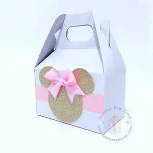 Minnie Mouse Pink and Gold Birthday Party Favor Gable Boxes - Simply Fab Chic