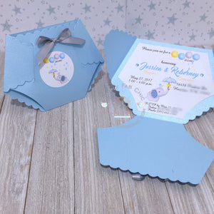 Blue Elephant Baby Shower Diaper Invitation - Simply Fab Chic