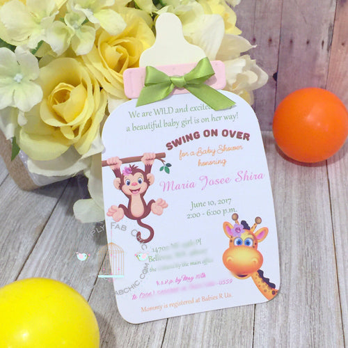 Baby Safari Baby Shower Handmade Bottle Invitation | Baby Bottle Invite | Custom Invitation | Luxury Invitation | Monkey Giraffe baby shower - Simply Fab Chic
