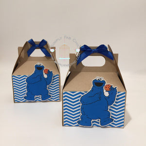 Cookie Monster Party Gable Favor Box | Sesame Street Birthday Party Treat Box | Snack Box - Simply Fab Chic