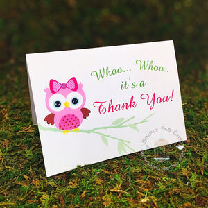 Thank You Card (Set of 10)| Baby Owl Thank You card | Baby Shower Thank You card - Simply Fab Chic