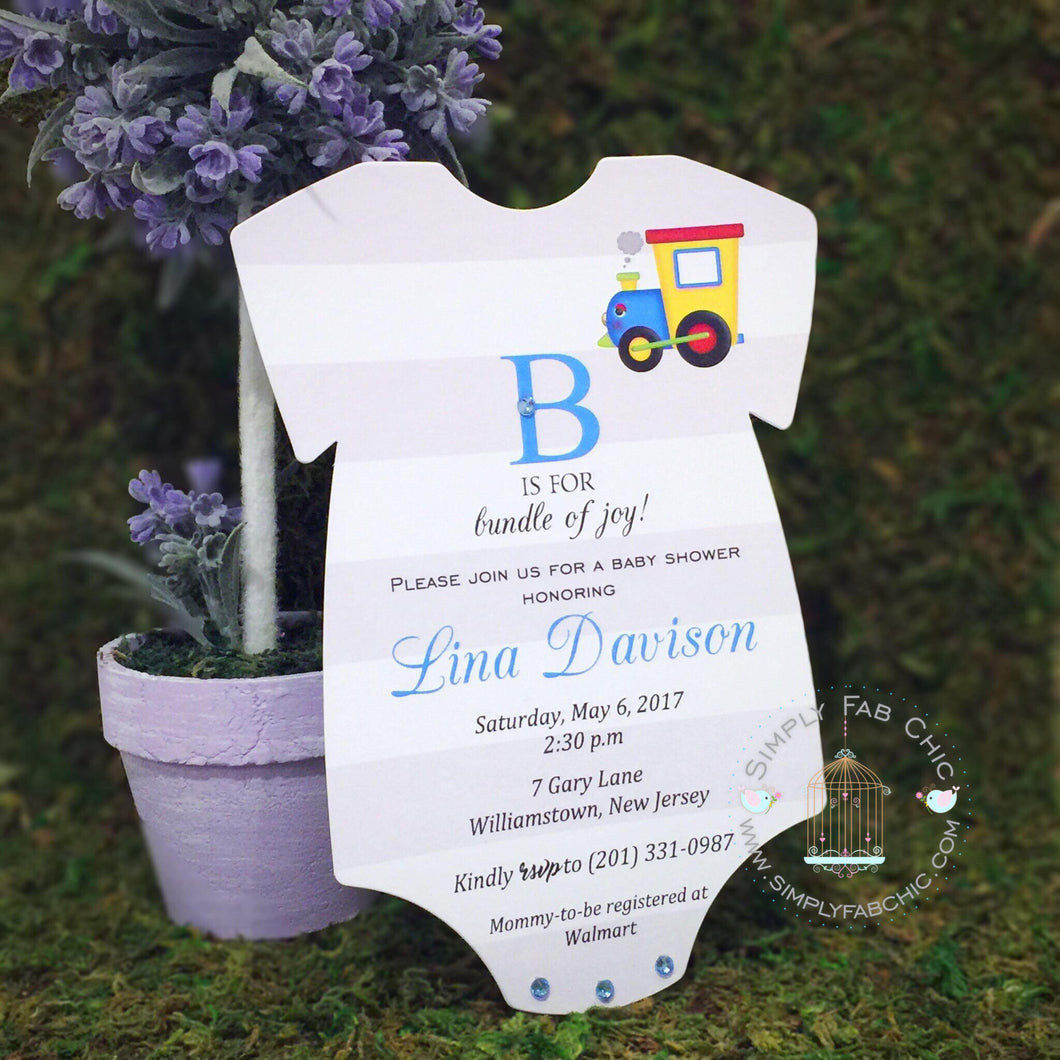 Baby Boy Train Baby Shower Onesie Shaped Invitations - Simply Fab Chic