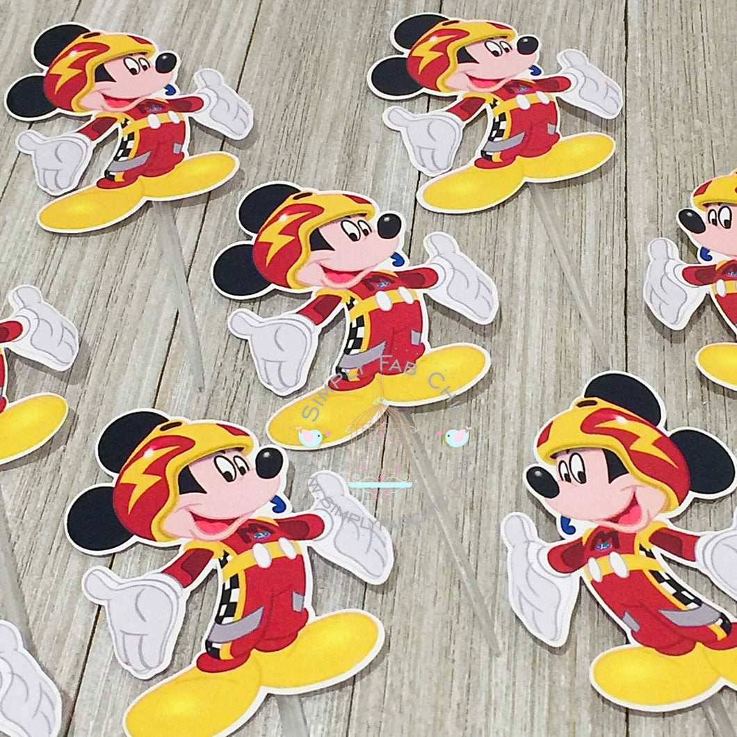 Mickey Roadster racer | Cupcake Topper Personalized Tags / Gift Tags / Thank you Tags / Mickey Roadster Cupcake Toppers | Race Racing - Simply Fab Chic