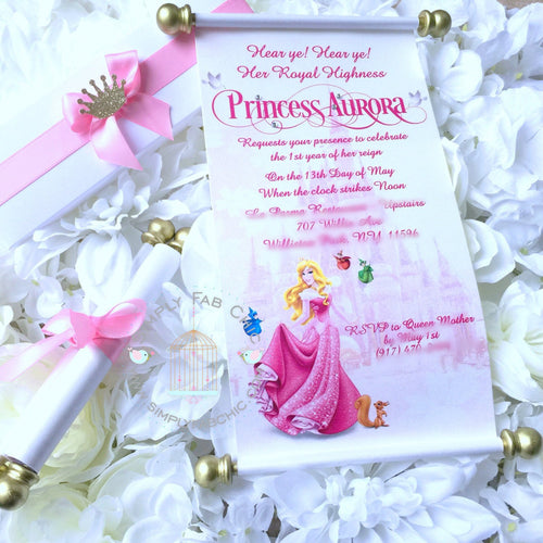 Princess Aurora Sleeping Beauty Royal Scroll Invitation Birthday Wedding - Simply Fab Chic
