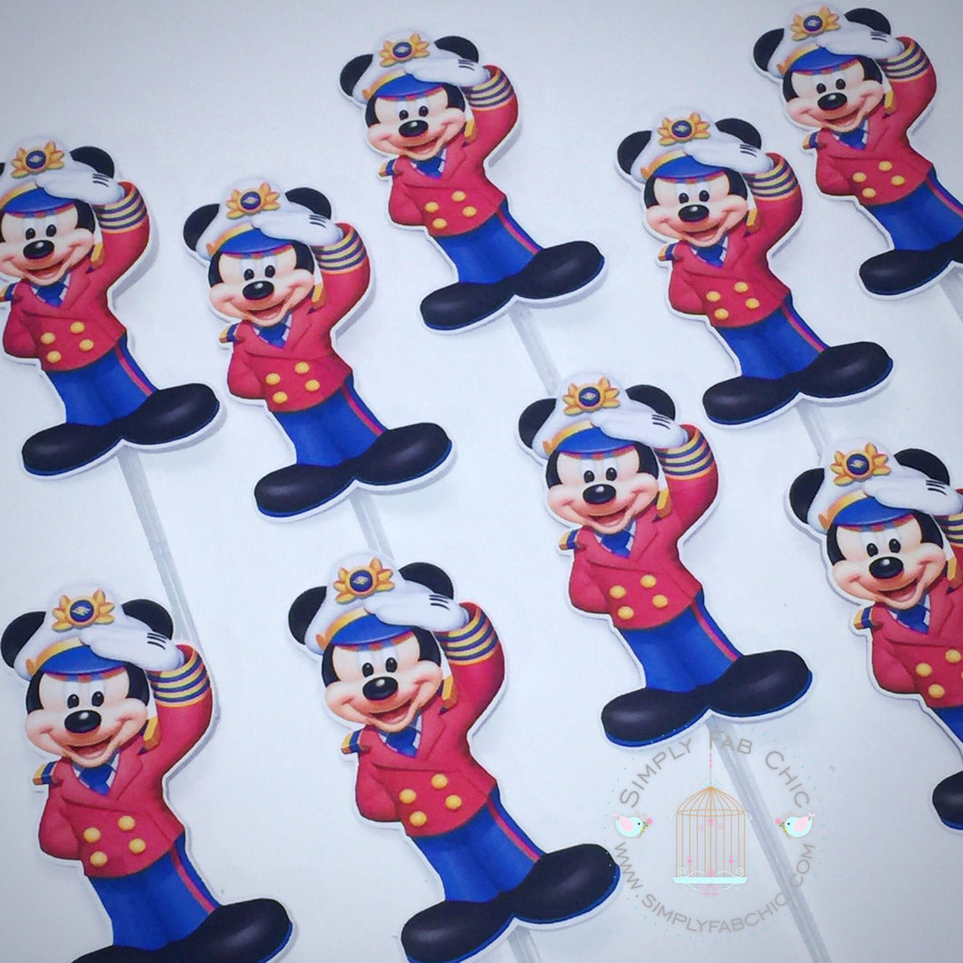 Captain Mickey | Sailor Mickey Cupcake Topper Personalized Tags / Gift Tags / Thank you Tags / Mickey Cupcake Toppers | nautical mickey - Simply Fab Chic
