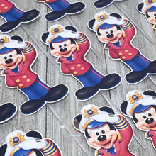 Load image into Gallery viewer, Captain Mickey | Sailor Mickey Cupcake Topper Personalized Tags / Gift Tags / Thank you Tags / Mickey Cupcake Toppers | nautical mickey - Simply Fab Chic