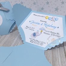 Load image into Gallery viewer, Blue Elephant Baby Shower Diaper Invitation - Simply Fab Chic